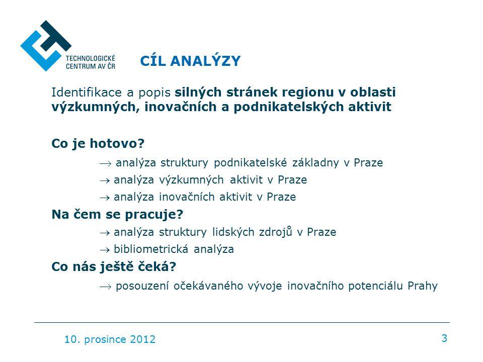 DOSTUPNOST DAT 4 Dvě rozdílné části Pozice Prahy v meziregionálním srovnání Využití agregovaných dat, omezená vypovídací schopnost Podrobná struktura VaV, inovací a podnikatelských subjektů v Praze −Šetření o inovacích −Roční výkaz o VaV −Rejstřík ekonomických subjektů −Výběrová šetření pracovních sil 10.