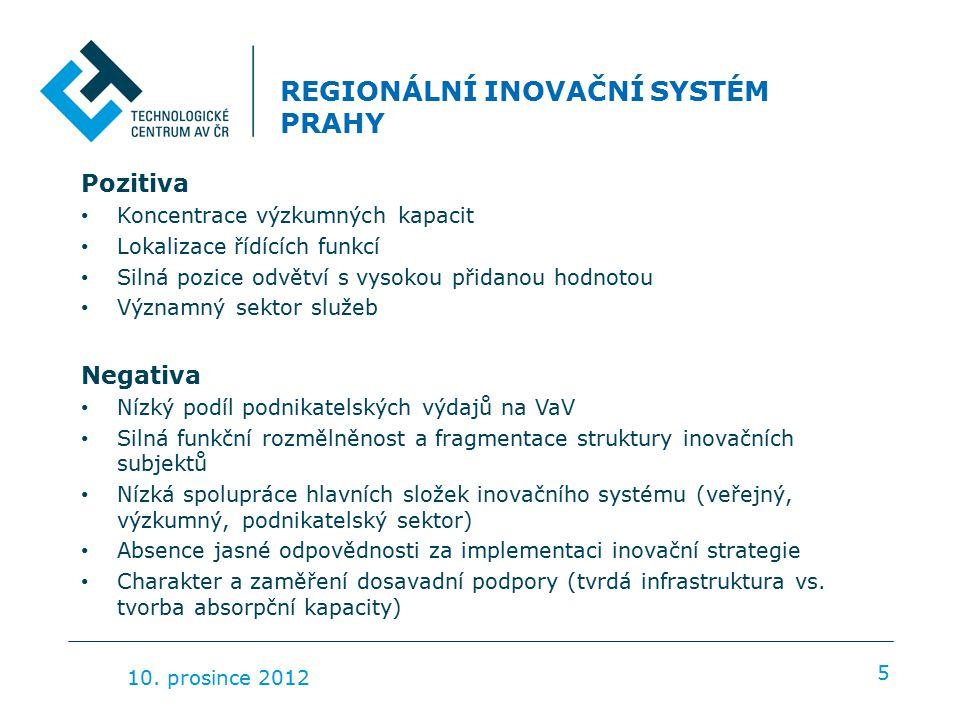 REGIONÁLNÍ INOVAČNÍ SYSTÉM PRAHY Pozitiva Koncentrace výzkumných kapacit Lokalizace řídících funkcí Silná pozice odvětví s vysokou přidanou hodnotou Významný sektor služeb Negativa Nízký podíl podnikatelských výdajů na VaV Silná funkční rozmělněnost a fragmentace struktury inovačních subjektů Nízká spolupráce hlavních složek inovačního systému (veřejný, výzkumný, podnikatelský sektor) Absence jasné odpovědnosti za implementaci inovační strategie Charakter a zaměření dosavadní podpory (tvrdá infrastruktura vs.
