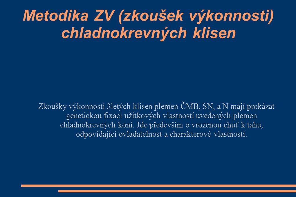 """ Postup přihlášení na ZV: - přihlášku podává majitel klisny, zapsané do PK nejpozději 3 týdny před konáním ZV na podepsaném formuláři adresovaném pořadateli - pokud majitel klisny neobdrží týden před konáním ZV připomínky byla klisna přijata - poplatek za ZV určuje pořadatel a je splatný při přejímce klisny - majitel je povinen předložit odpovídající dokumentaci a dodržet veterinární předpisy, se kterými byl pořadatelem seznámen - pořadatel připraví katalog klisen - pokud bude klisna jevit známky """"letní vyrážky potvrzené místním veterinárním lékařem dozorujícím ZV, může zkoušky absolvovat, avšak bez nároku na zápis do PK (klisna nebude na základě tohoto zjištění zapsána do PK)"""