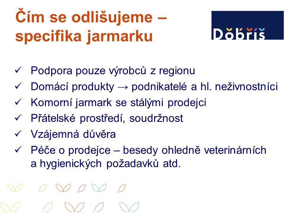 Čím se odlišujeme – specifika jarmarku Podpora pouze výrobců z regionu Domácí produkty → podnikatelé a hl. neživnostníci Komorní jarmark se stálými pr