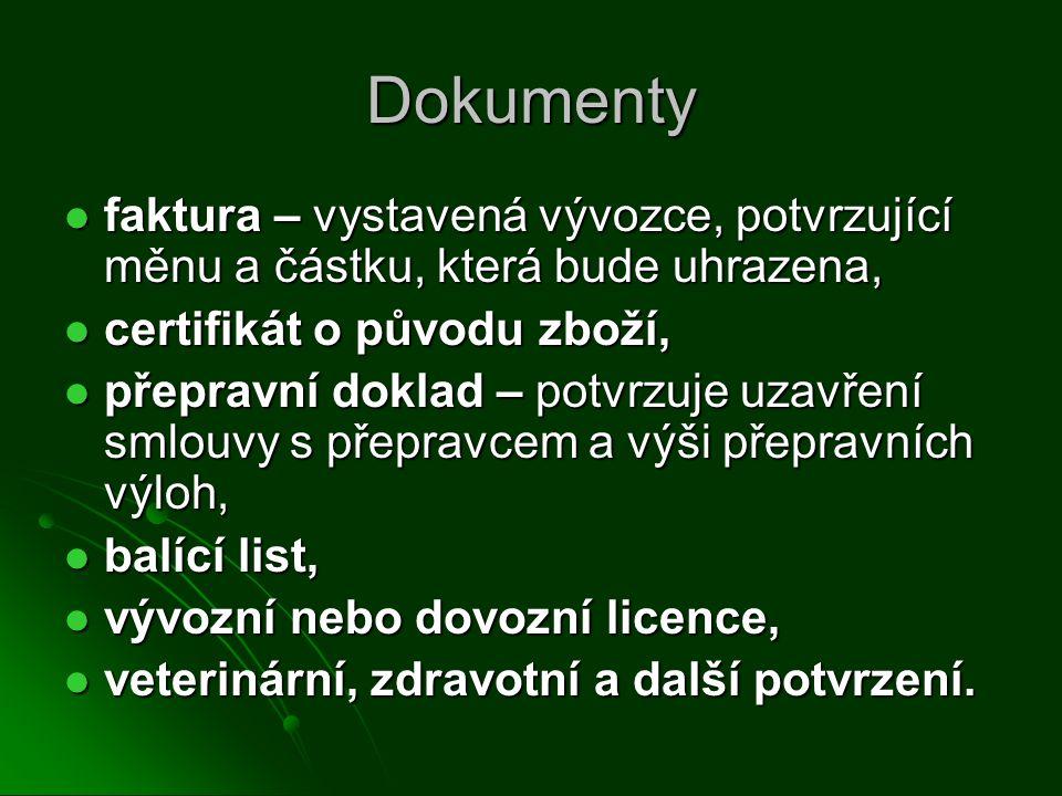 Dokumenty faktura – vystavená vývozce, potvrzující měnu a částku, která bude uhrazena, faktura – vystavená vývozce, potvrzující měnu a částku, která b