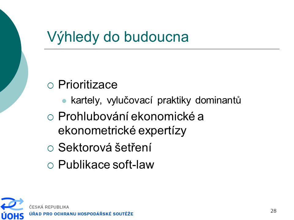28 Výhledy do budoucna  Prioritizace kartely, vylučovací praktiky dominantů  Prohlubování ekonomické a ekonometrické expertízy  Sektorová šetření  Publikace soft-law