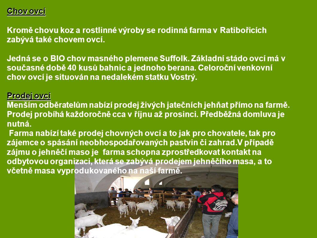 Chov ovcí Kromě chovu koz a rostlinné výroby se rodinná farma v Ratibořicích zabývá také chovem ovcí. Jedná se o BIO chov masného plemene Suffolk. Zák