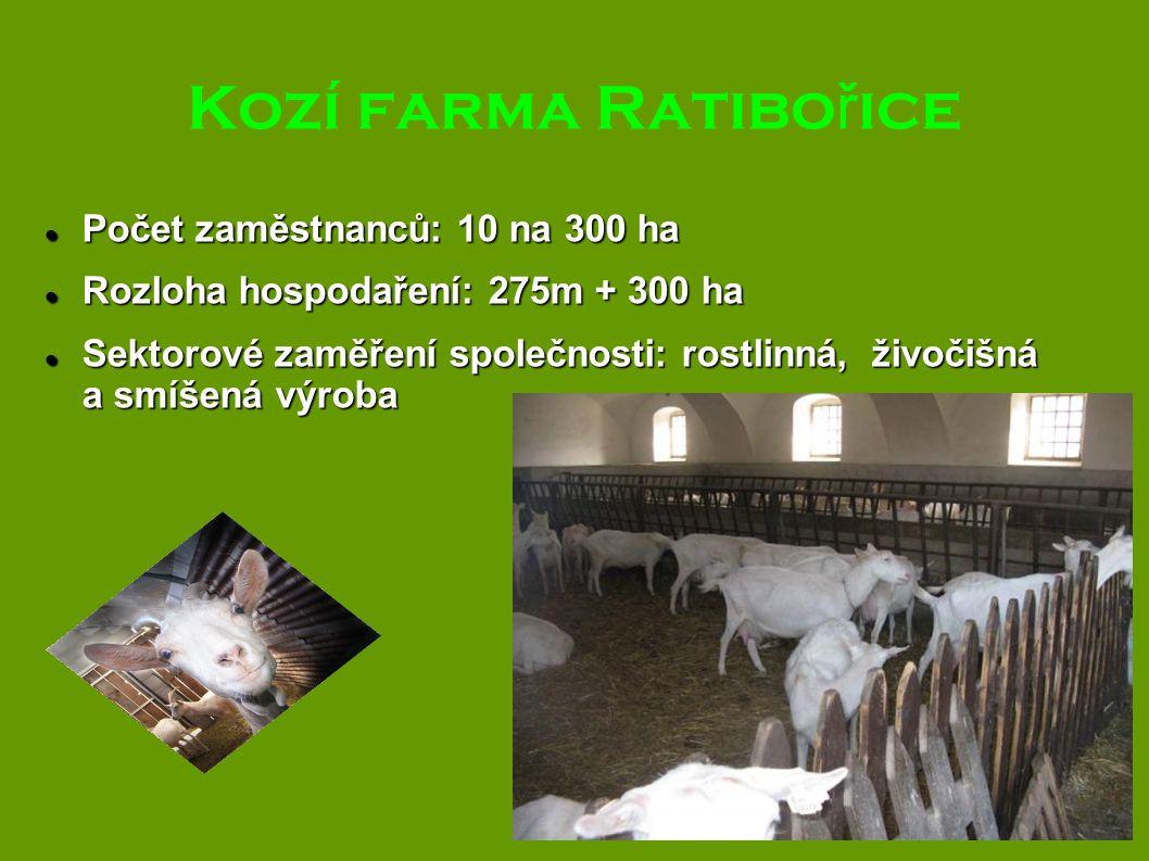Kozí farma Ratibo ř ice Počet zaměstnanců: 10 na 300 ha Počet zaměstnanců: 10 na 300 ha Rozloha hospodaření: 275m + 300 ha Rozloha hospodaření: 275m +