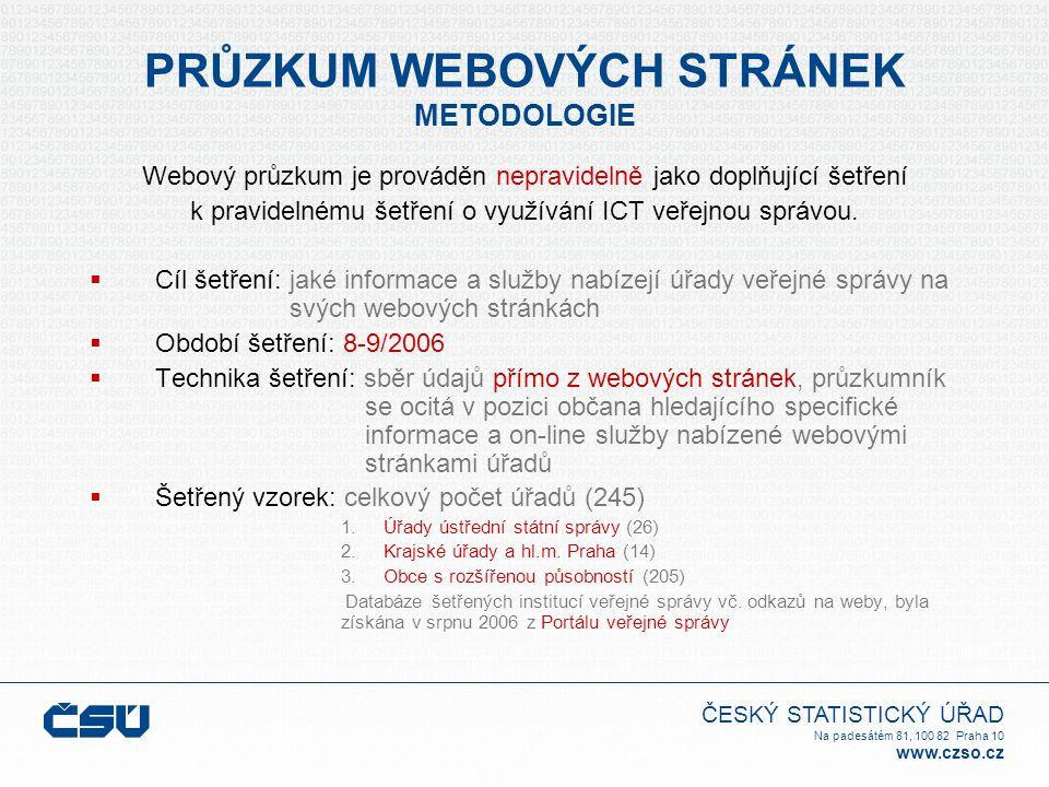 ČESKÝ STATISTICKÝ ÚŘAD Na padesátém 81, 100 82 Praha 10 www.czso.cz PRŮZKUM WEBOVÝCH STRÁNEK METODOLOGIE Webový průzkum je prováděn nepravidelně jako doplňující šetření k pravidelnému šetření o využívání ICT veřejnou správou.