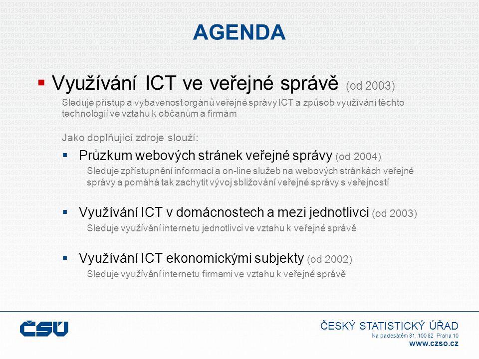 ČESKÝ STATISTICKÝ ÚŘAD Na padesátém 81, 100 82 Praha 10 www.czso.cz AGENDA  Využívání ICT ve veřejné správě (od 2003) Sleduje přístup a vybavenost orgánů veřejné správy ICT a způsob využívání těchto technologií ve vztahu k občanům a firmám Jako doplňující zdroje slouží:  Průzkum webových stránek veřejné správy (od 2004) Sleduje zpřístupnění informací a on-line služeb na webových stránkách veřejné správy a pomáhá tak zachytit vývoj sbližování veřejné správy s veřejností  Využívání ICT v domácnostech a mezi jednotlivci (od 2003) Sleduje využívání internetu jednotlivci ve vztahu k veřejné správě  Využívání ICT ekonomickými subjekty (od 2002) Sleduje využívání internetu firmami ve vztahu k veřejné správě