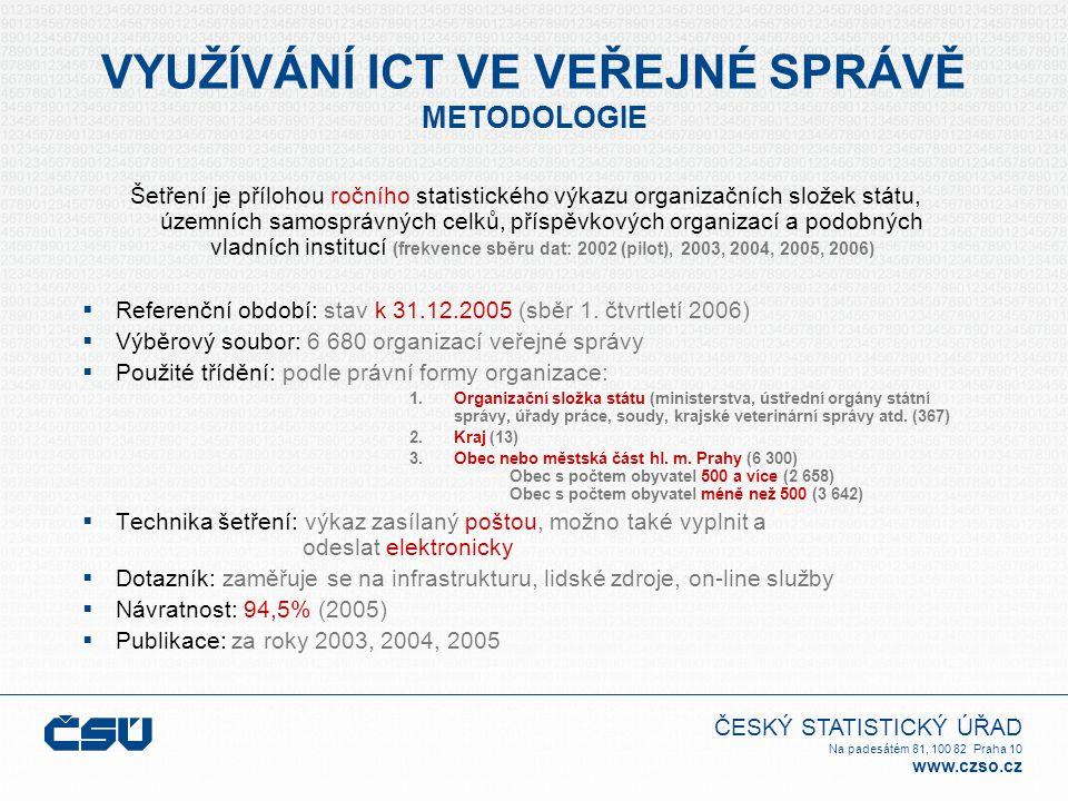 ČESKÝ STATISTICKÝ ÚŘAD Na padesátém 81, 100 82 Praha 10 www.czso.cz VYUŽÍVÁNÍ ICT VE VEŘEJNÉ SPRÁVĚ METODOLOGIE Šetření je přílohou ročního statistického výkazu organizačních složek státu, územních samosprávných celků, příspěvkových organizací a podobných vladních institucí (frekvence sběru dat: 2002 (pilot), 2003, 2004, 2005, 2006)  Referenční období: stav k 31.12.2005 (sběr 1.