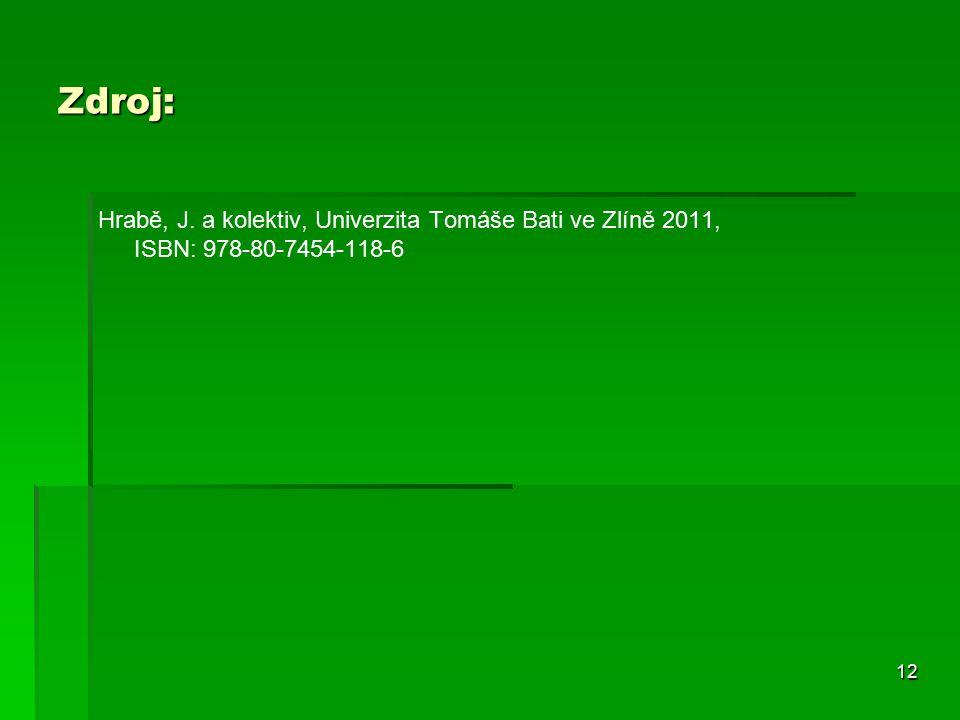 12 Zdroj: Hrabě, J. a kolektiv, Univerzita Tomáše Bati ve Zlíně 2011, ISBN: 978-80-7454-118-6