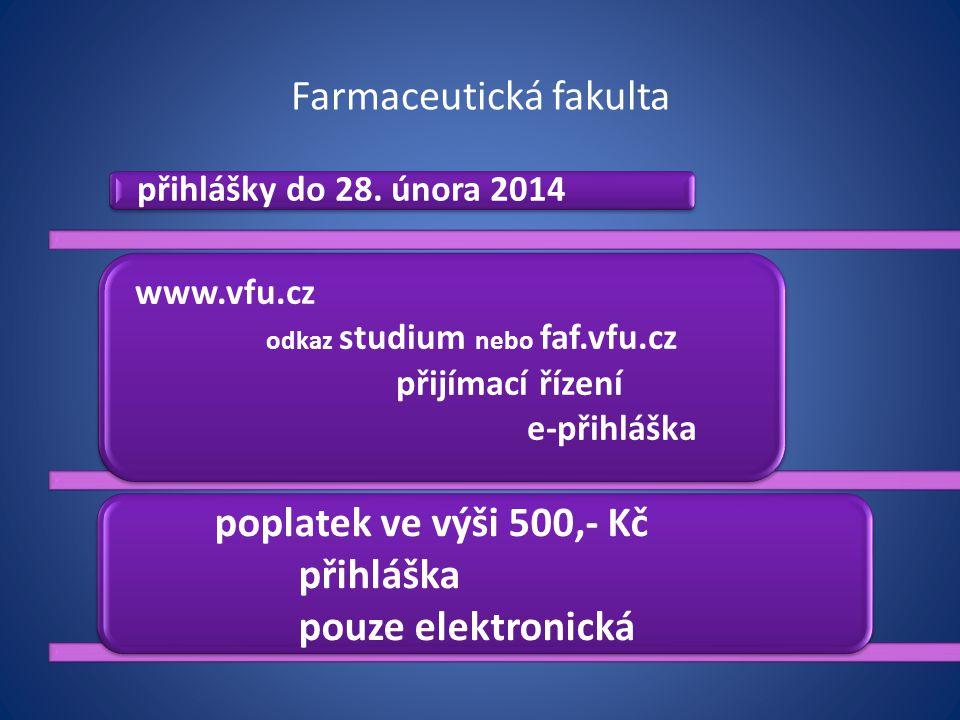 Farmaceutická fakulta přihlášky do 28. února 2014 www.vfu.cz odkaz studium nebo faf.vfu.cz přijímací řízení e-přihláška poplatek ve výši 500,- Kč přih