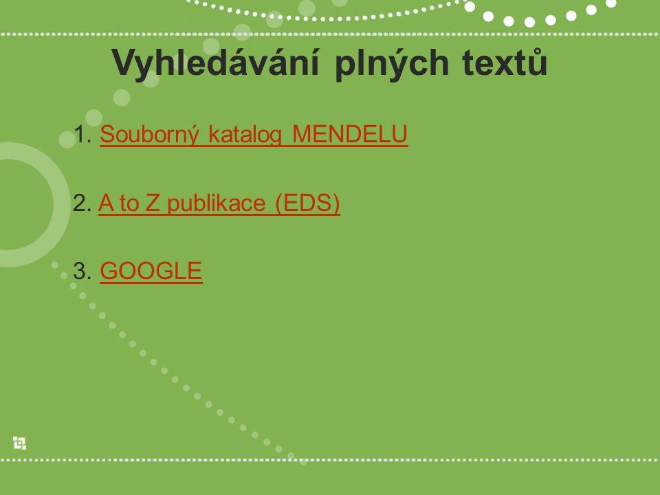 Vyhledávání plných textů 1. Souborný katalog MENDELUSouborný katalog MENDELU 2. A to Z publikace (EDS)A to Z publikace (EDS) 3. GOOGLEGOOGLE