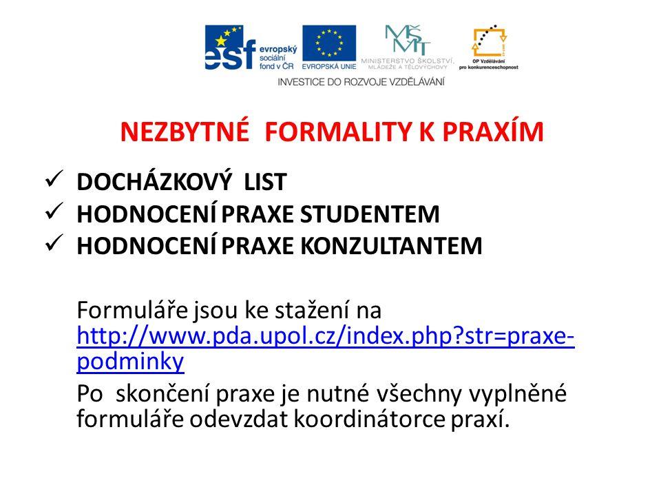 NEZBYTNÉ FORMALITY K PRAXÍM DOCHÁZKOVÝ LIST HODNOCENÍ PRAXE STUDENTEM HODNOCENÍ PRAXE KONZULTANTEM Formuláře jsou ke stažení na http://www.pda.upol.cz