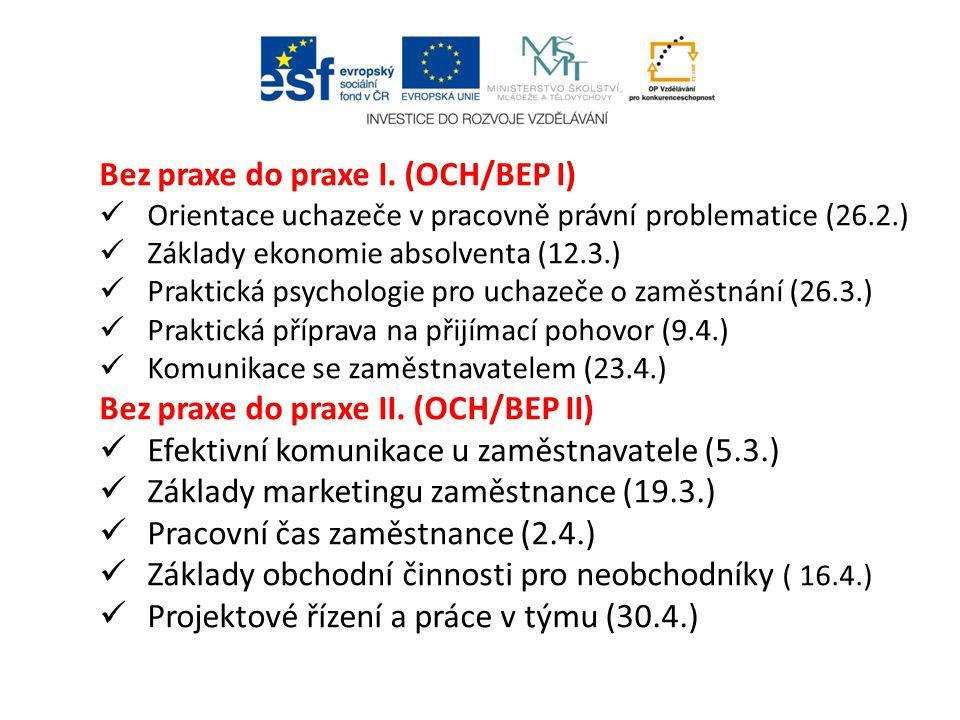 Bez praxe do praxe I. (OCH/BEP I) Orientace uchazeče v pracovně právní problematice (26.2.) Základy ekonomie absolventa (12.3.) Praktická psychologie