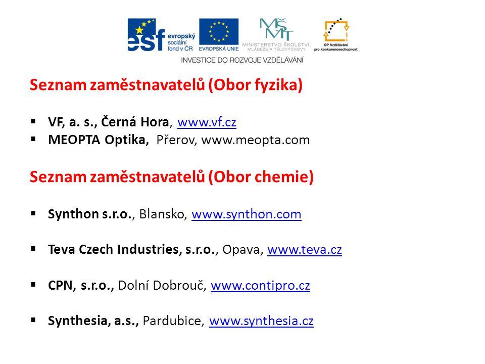 Seznam zaměstnavatelů (Obor fyzika)  VF, a. s., Černá Hora, www.vf.czwww.vf.cz  MEOPTA Optika, Přerov, www.meopta.com Seznam zaměstnavatelů (Obor ch
