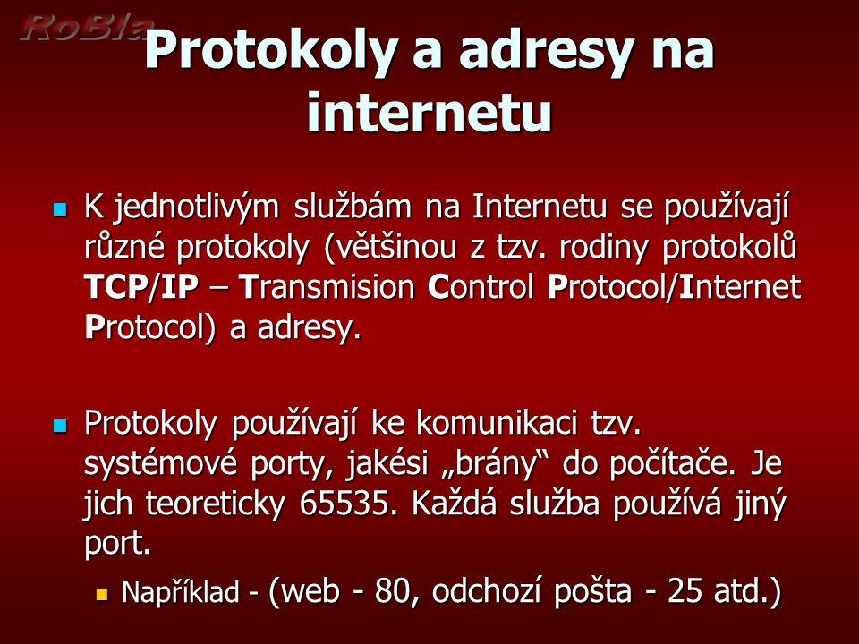 Protokoly a adresy na internetu K jednotlivým službám na Internetu se používají různé protokoly (většinou z tzv. rodiny protokolů TCP/IP – Transmision
