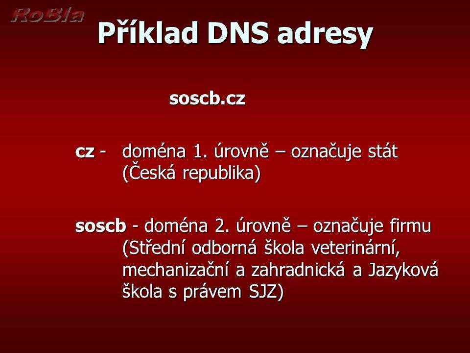 Příklad DNS adresy soscb.cz cz - doména 1. úrovně – označuje stát (Česká republika) soscb - doména 2. úrovně – označuje firmu (Střední odborná škola v
