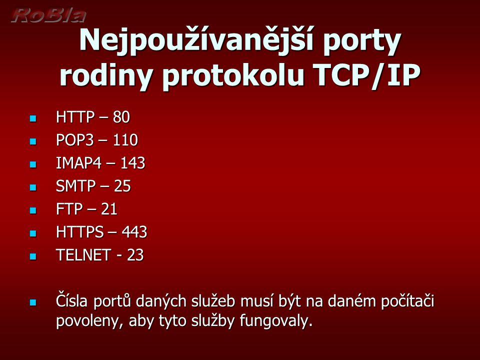 Nejpoužívanější porty rodiny protokolu TCP/IP HTTP – 80 HTTP – 80 POP3 – 110 POP3 – 110 IMAP4 – 143 IMAP4 – 143 SMTP – 25 SMTP – 25 FTP – 21 FTP – 21