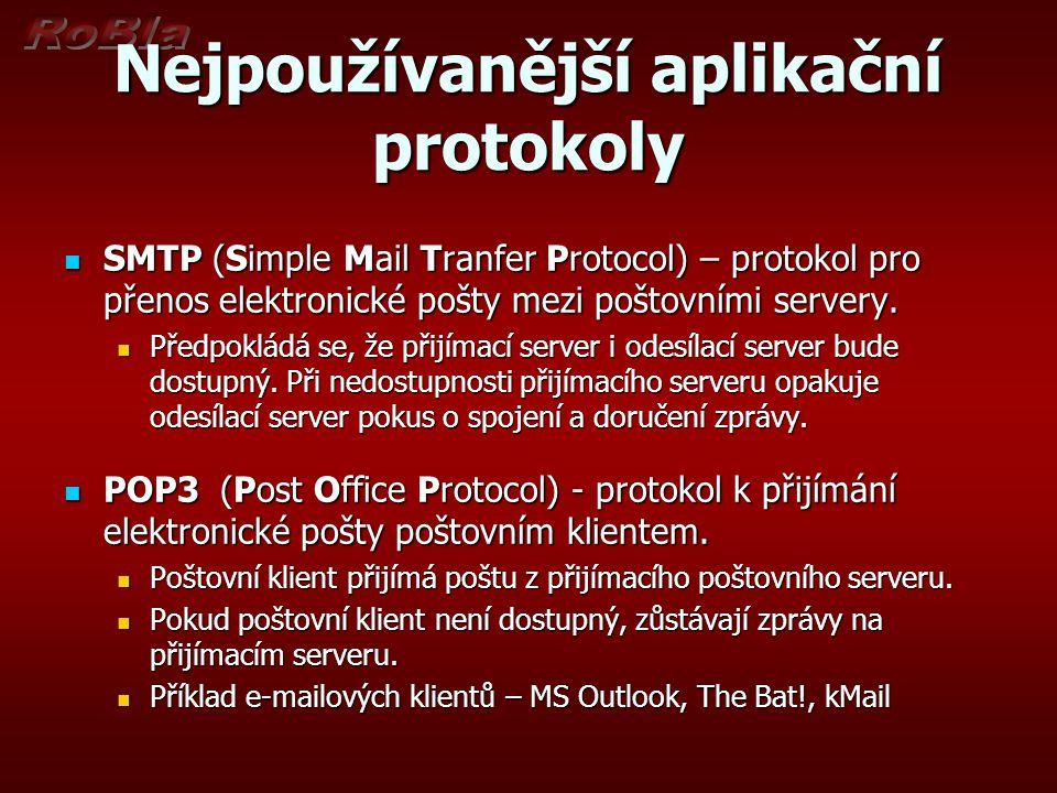 Nejpoužívanější aplikační protokoly SMTP (Simple Mail Tranfer Protocol) – protokol pro přenos elektronické pošty mezi poštovními servery. SMTP (Simple