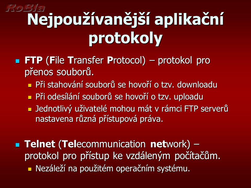 Nejpoužívanější aplikační protokoly FTP (File Transfer Protocol) – protokol pro přenos souborů. FTP (File Transfer Protocol) – protokol pro přenos sou