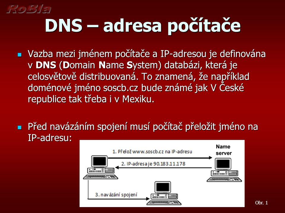 DNS – adresa počítače Vazba mezi jménem počítače a IP-adresou je definována v DNS (Domain Name System) databázi, která je celosvětově distribuovaná. T