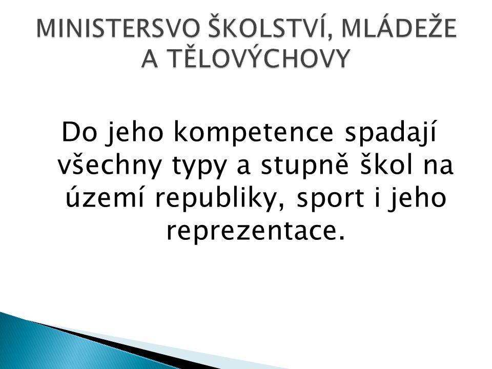 Do jeho kompetence spadají všechny typy a stupně škol na území republiky, sport i jeho reprezentace.
