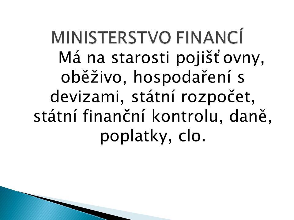 Má na starosti pojišťovny, oběživo, hospodaření s devizami, státní rozpočet, státní finanční kontrolu, daně, poplatky, clo.
