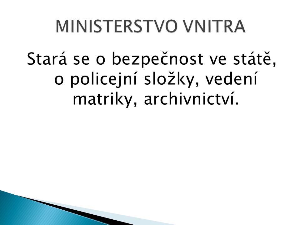 Spravuje divadla, galerie, muzea, knihovny a státní kulturní zařízení, stará se o ochranu historických památek.