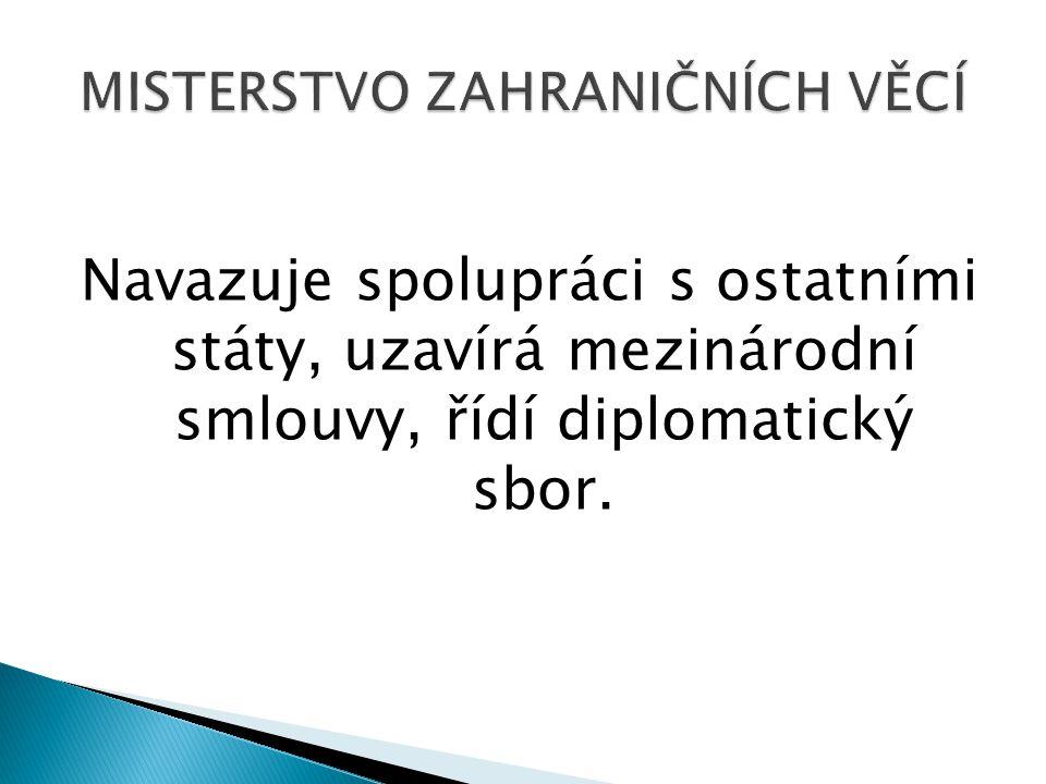 Navazuje spolupráci s ostatními státy, uzavírá mezinárodní smlouvy, řídí diplomatický sbor.