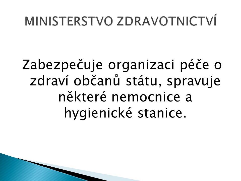 Zabezpečuje organizaci péče o zdraví občanů státu, spravuje některé nemocnice a hygienické stanice.