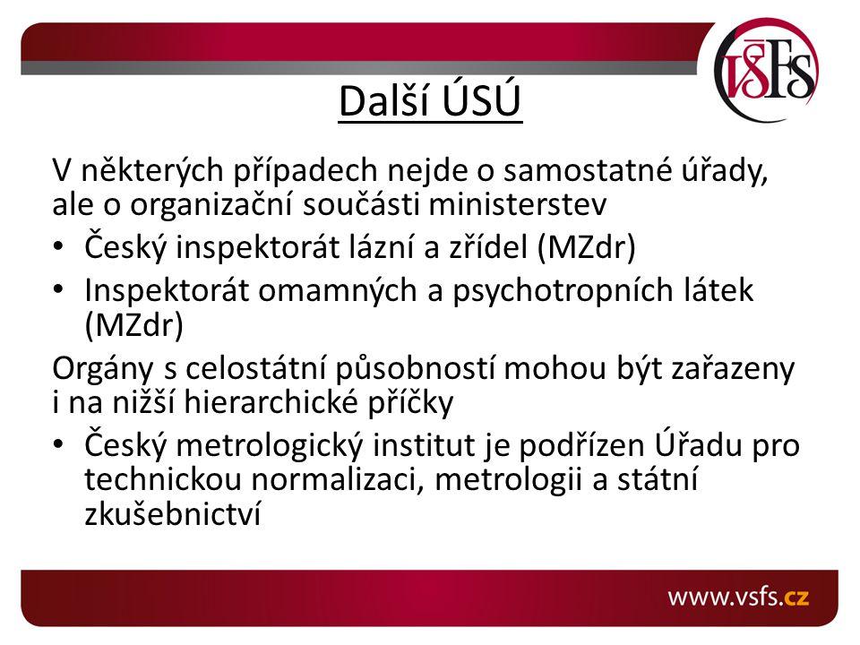 Další ÚSÚ V některých případech nejde o samostatné úřady, ale o organizační součásti ministerstev Český inspektorát lázní a zřídel (MZdr) Inspektorát