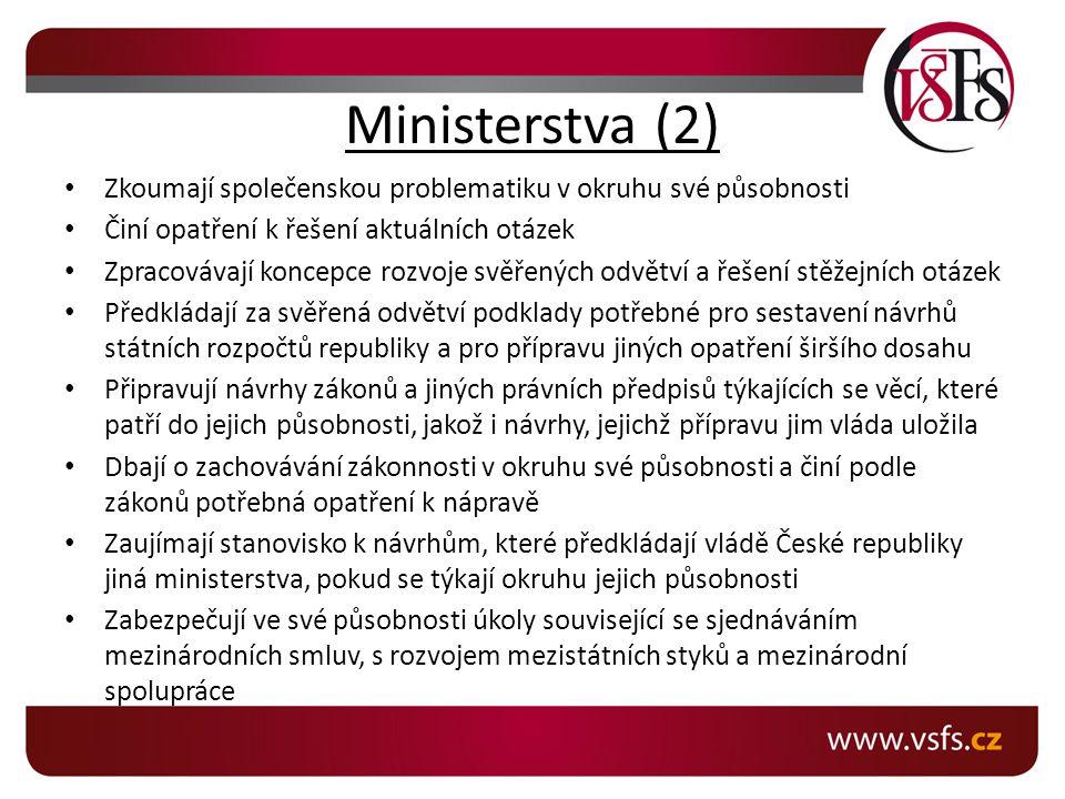 Ministerstva (2) Zkoumají společenskou problematiku v okruhu své působnosti Činí opatření k řešení aktuálních otázek Zpracovávají koncepce rozvoje svě
