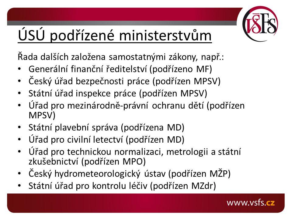ÚSÚ podřízené ministerstvům Řada dalších založena samostatnými zákony, např.: Generální finanční ředitelství (podřízeno MF) Český úřad bezpečnosti prá