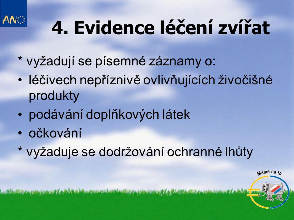 4. Evidence léčení zvířat * vyžadují se písemné záznamy o: léčivech nepříznivě ovlivňujících živočišné produkty podávání doplňkových látek očkování *