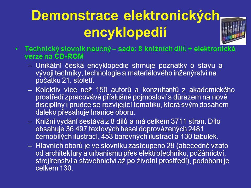 Demonstrace elektronických encyklopedií Technický slovník naučný – sada: 8 knižních dílů + elektronická verze na CD-ROM –Unikátní česká encyklopedie s