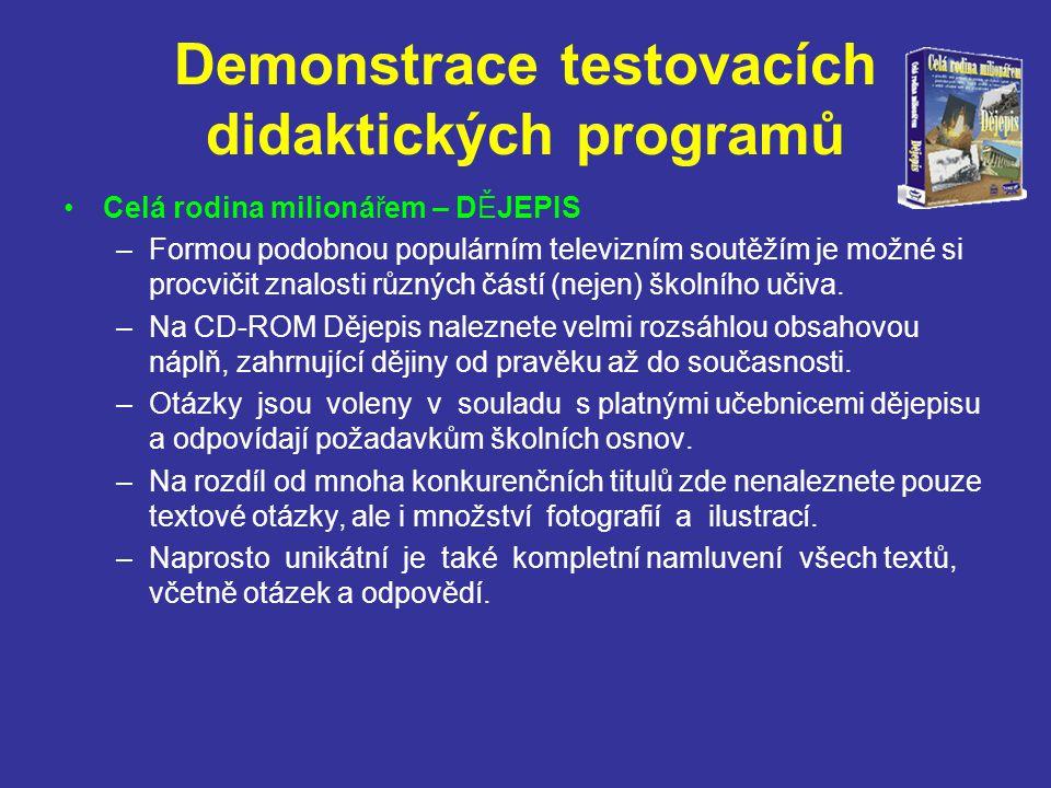 Demonstrace elektronických encyklopedií HEURÉKA - univerzální encyklopedie - elektronická verze pro PC –Rozšířené vydání rozsáhlé všeobecné české elektronické encyklopedie, které bylo aktualizováno v roce 2002, zahrnuje více než 47000 hesel, 3500 ilustrací (z toho 2300 barevných), 300 tabulek, mapy, vlajky, historické přehledy, videoukázky a zvukové záznamy (hudba, promluvy známých osobností, hlasy zvířat).