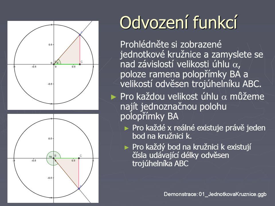 Odvození funkcí Odvození funkcí Prohlédněte si zobrazené jednotkové kružnice a zamyslete se nad závislostí velikosti úhlu , poloze ramena polopřímky