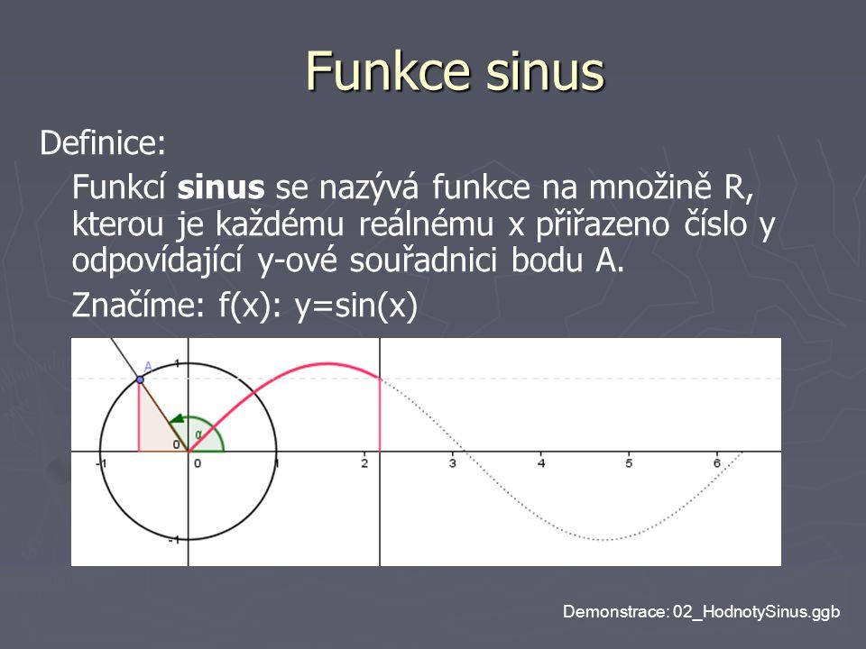 Funkce sinus Definice: Funkcí sinus se nazývá funkce na množině R, kterou je každému reálnému x přiřazeno číslo y odpovídající y-ové souřadnici bodu A
