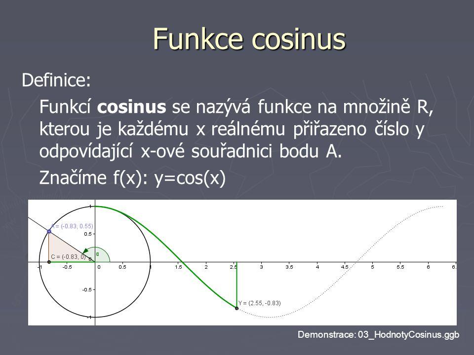 Funkce cosinus Definice: Funkcí cosinus se nazývá funkce na množině R, kterou je každému x reálnému přiřazeno číslo y odpovídající x-ové souřadnici bo