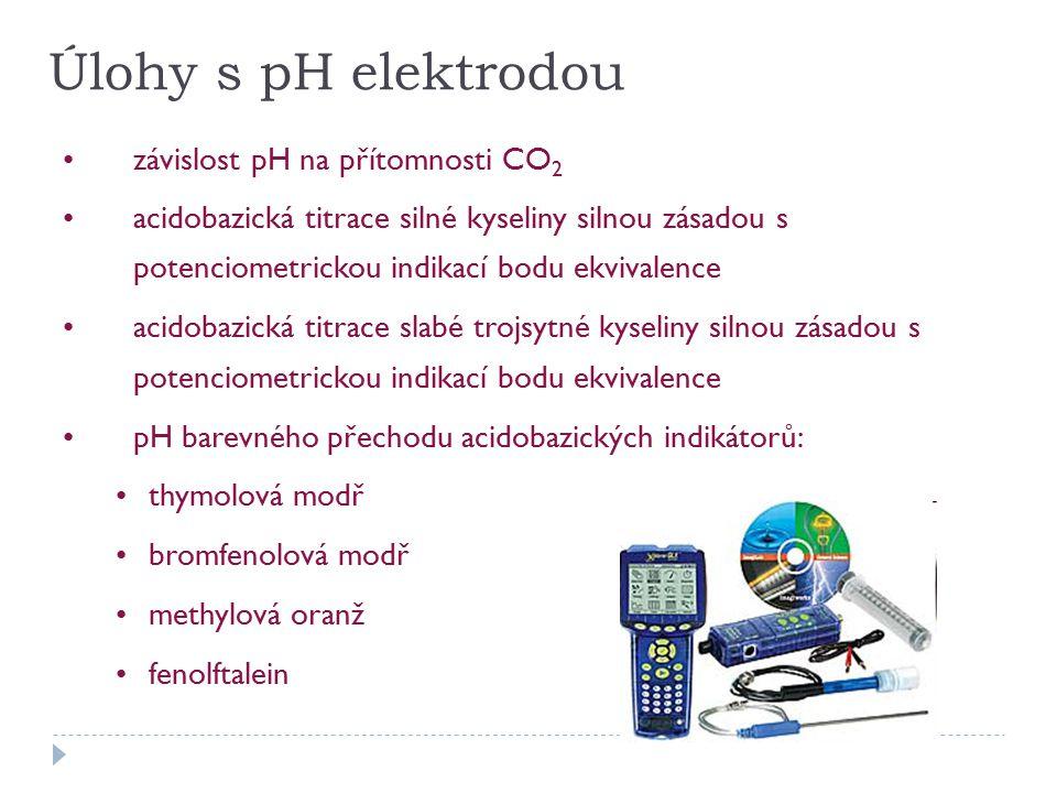 Úlohy s pH elektrodou závislost pH na přítomnosti CO 2 acidobazická titrace silné kyseliny silnou zásadou s potenciometrickou indikací bodu ekvivalence acidobazická titrace slabé trojsytné kyseliny silnou zásadou s potenciometrickou indikací bodu ekvivalence pH barevného přechodu acidobazických indikátorů: thymolová modř bromfenolová modř methylová oranž fenolftalein