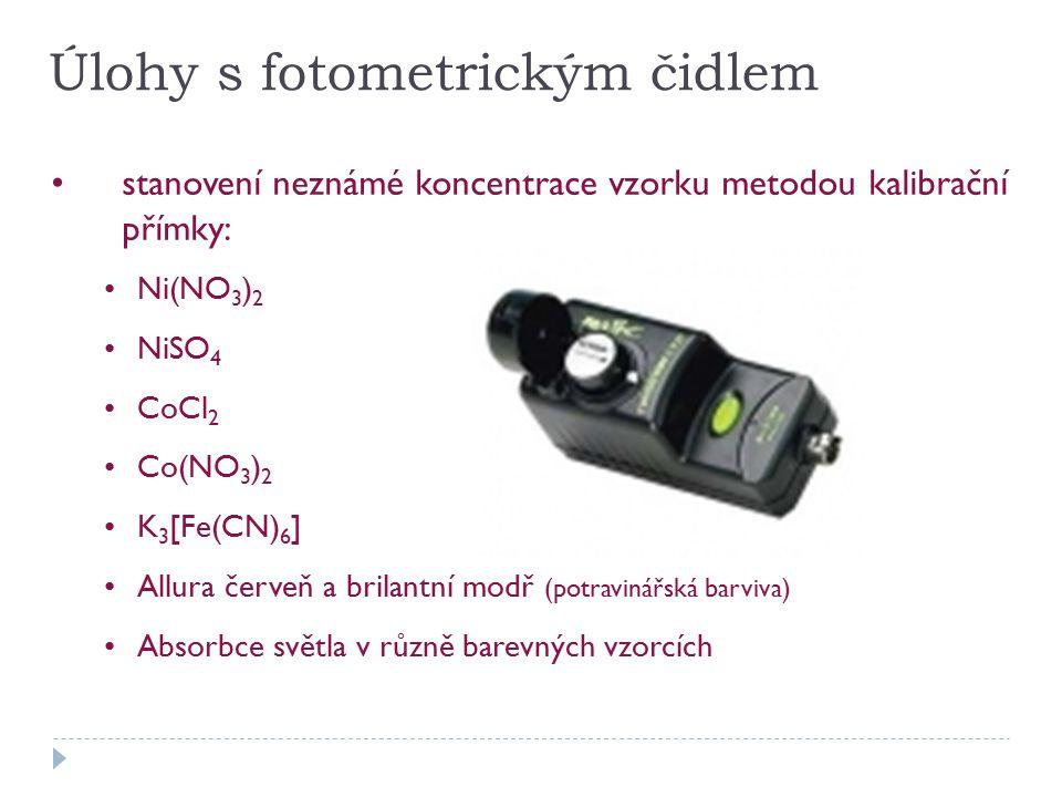 Úlohy s fotometrickým čidlem stanovení neznámé koncentrace vzorku metodou kalibrační přímky: Ni(NO 3 ) 2 NiSO 4 CoCl 2 Co(NO 3 ) 2 K 3 [Fe(CN) 6 ] Allura červeň a brilantní modř (potravinářská barviva) Absorbce světla v různě barevných vzorcích