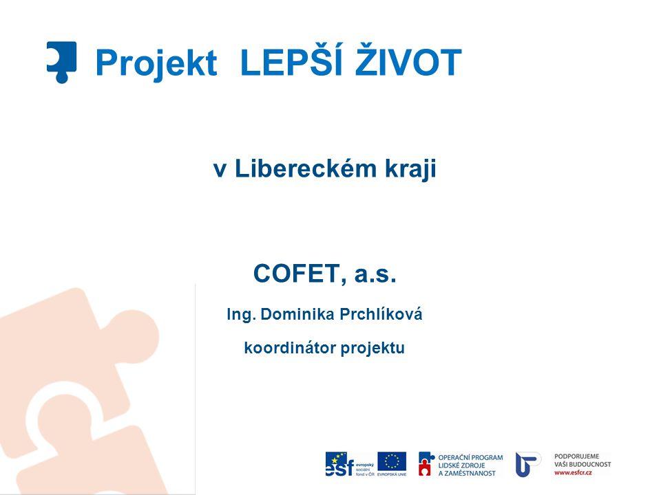 v Libereckém kraji COFET, a.s. Ing. Dominika Prchlíková koordinátor projektu Projekt LEPŠÍ ŽIVOT