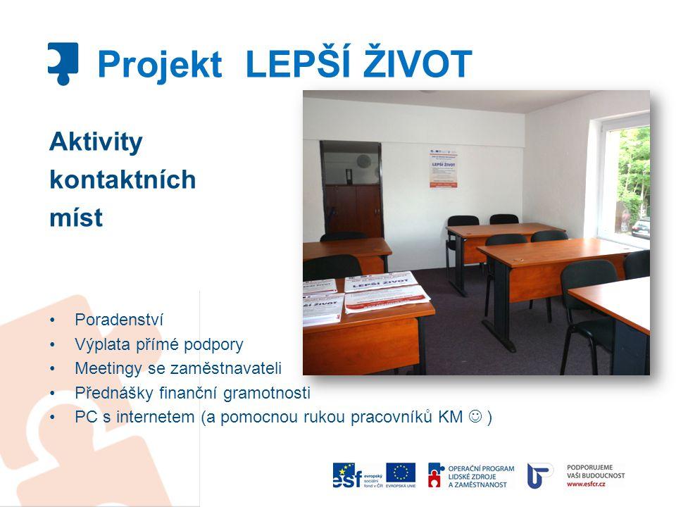 Aktivity kontaktních míst Poradenství Výplata přímé podpory Meetingy se zaměstnavateli Přednášky finanční gramotnosti PC s internetem (a pomocnou ruko