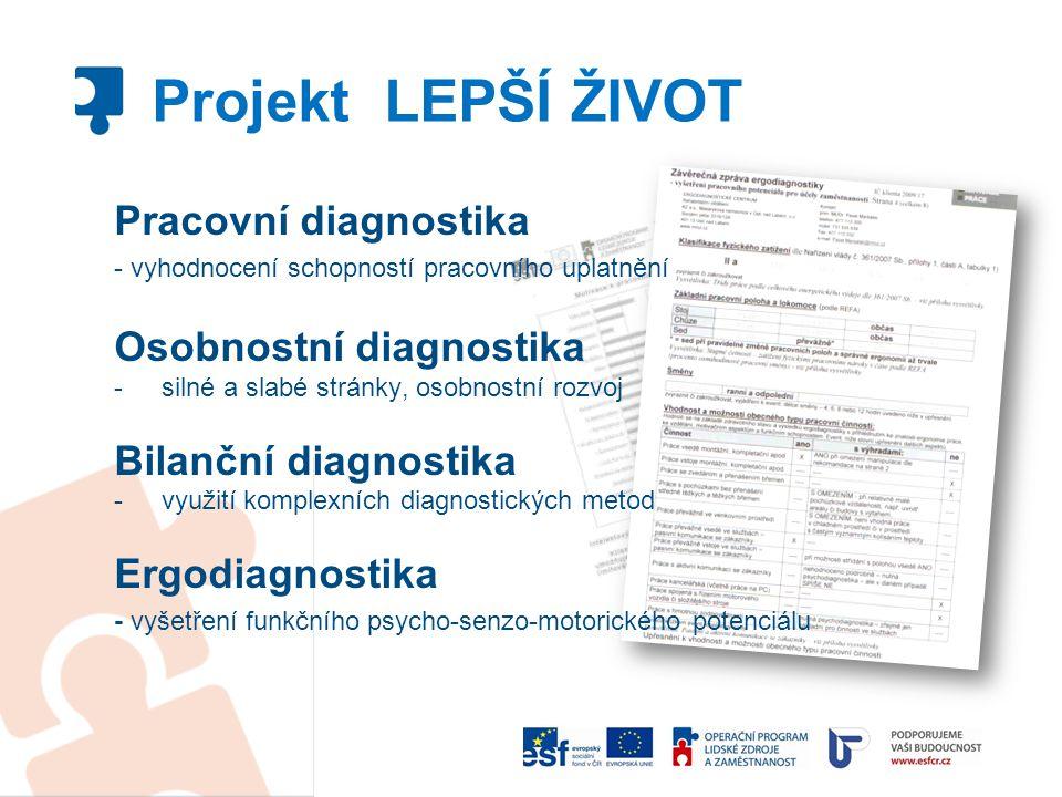 Pracovní diagnostika - vyhodnocení schopností pracovního uplatnění Osobnostní diagnostika - silné a slabé stránky, osobnostní rozvoj Bilanční diagnost