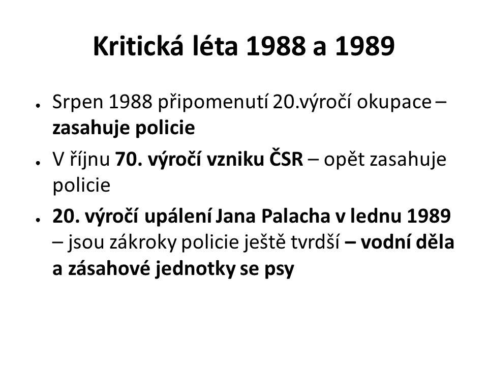 Kritická léta 1988 a 1989 ● Srpen 1988 připomenutí 20.výročí okupace – zasahuje policie ● V říjnu 70. výročí vzniku ČSR – opět zasahuje policie ● 20.
