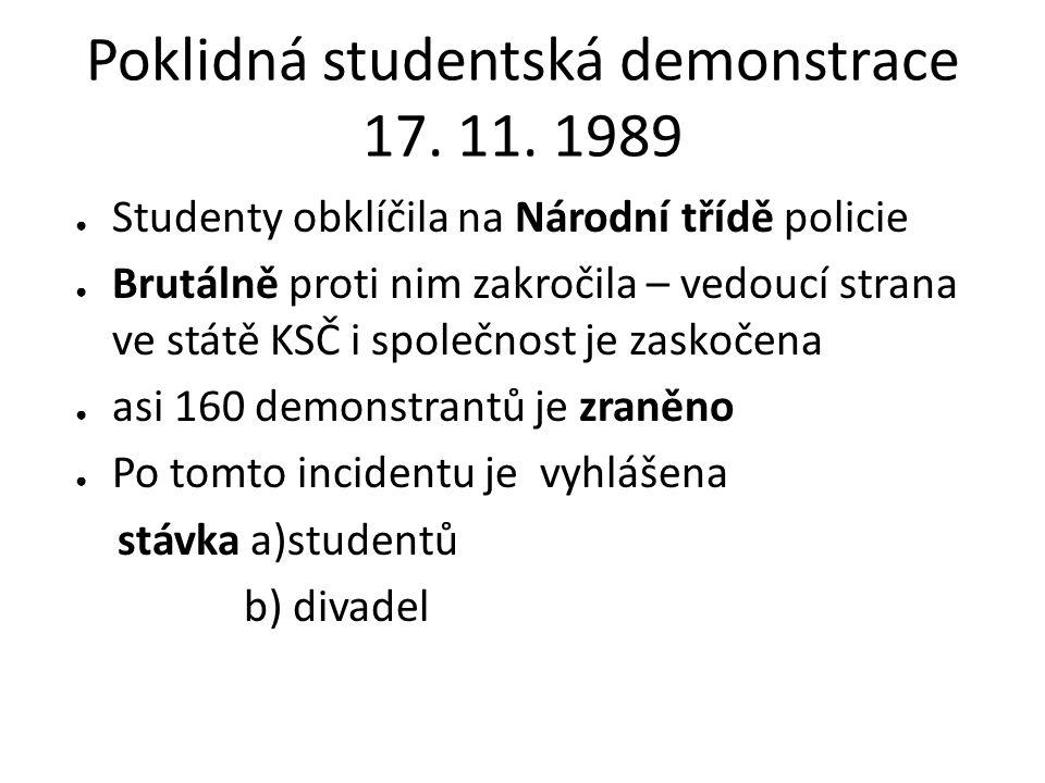 Poklidná studentská demonstrace 17. 11. 1989 ● Studenty obklíčila na Národní třídě policie ● Brutálně proti nim zakročila – vedoucí strana ve státě KS