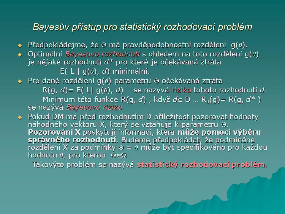 Statistický rozhodovací problém  Komponenty statistického rozhodovacího problému jsou: parametrický prostor Ω, rozhodovací prostor D, ztrátová funkce L a podmíněné rozdělení f(x|) pozorované veličiny X.