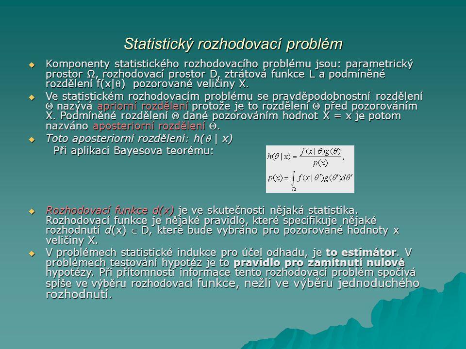 Statistický rozhodovací problém  Komponenty statistického rozhodovacího problému jsou: parametrický prostor Ω, rozhodovací prostor D, ztrátová funkce