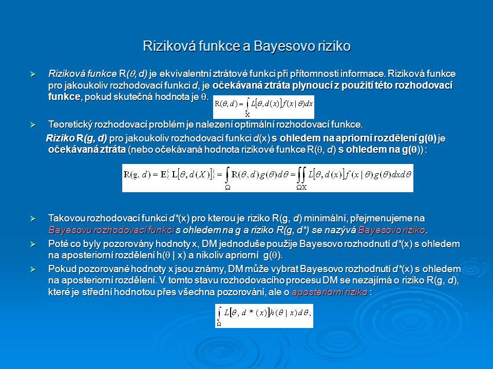 Riziková funkce a Bayesovo riziko  Riziková funkce R( , d) je ekvivalentní ztrátové funkci při přítomnosti informace. Riziková funkce pro jakoukoliv