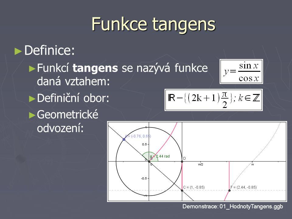 Funkce tangens ► ► Definice: ► ► Funkcí tangens se nazývá funkce daná vztahem: ► ► Definiční obor: ► ► Geometrické odvození: Demonstrace: 01_HodnotyTangens.ggb