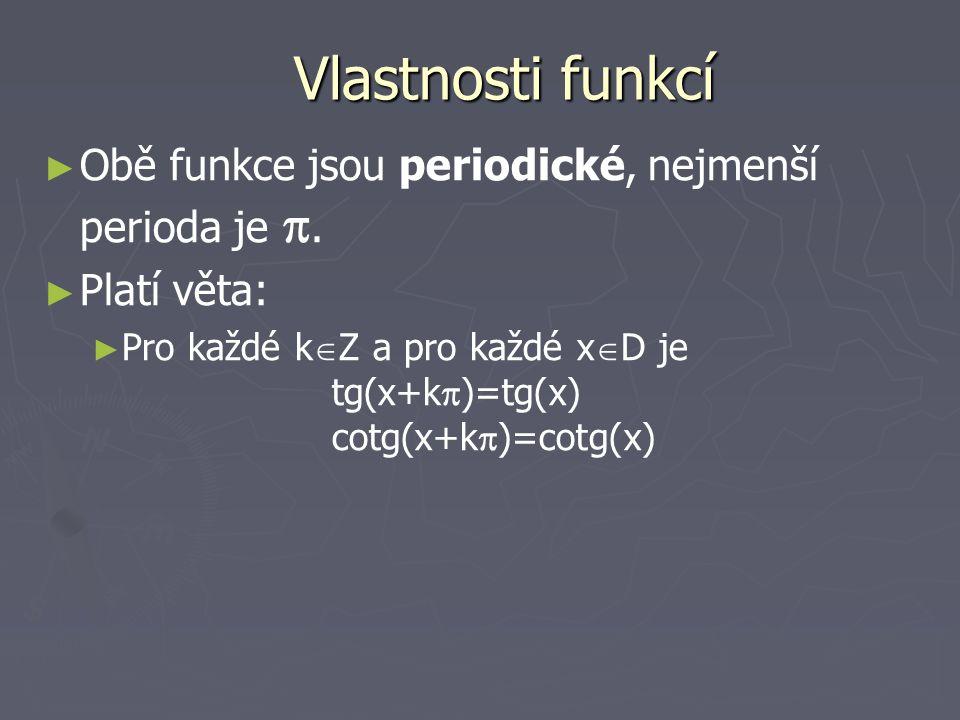 Vlastnosti funkcí ► ► Obě funkce jsou periodické, nejmenší perioda je . ► ► Platí věta: ► ► Pro každé k  Z a pro každé x  D je tg(x+k  )=tg(x) cot
