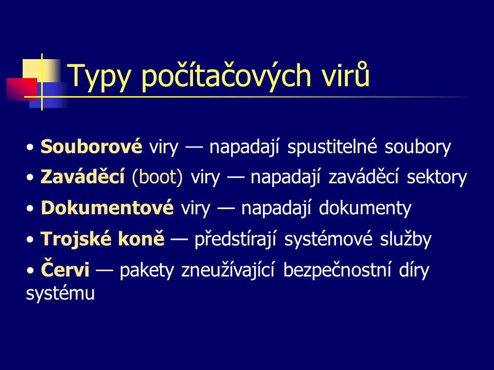 Typy počítačových virů Souborové viry — napadají spustitelné soubory Zaváděcí (boot) viry — napadají zaváděcí sektory Dokumentové viry — napadají doku